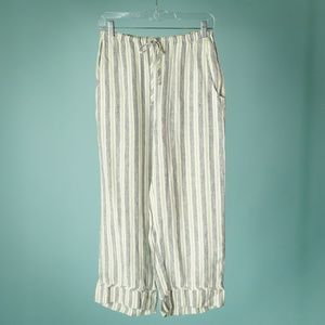 Flax XS Ivory Blue Green Linen Stripe P